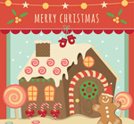 Link toCandy house christmas greeting cards vector