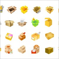Link toCardboard boxes of vector icons