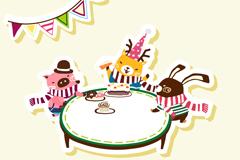 Link toCartoon animal birthday party vector