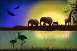 Link toCartoon animal silhouette landscape vector