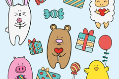 Cartoon animals and gift box vector seamless background