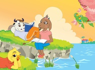 Link toCartoon animals reading book vector free