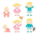 Link toCartoon babies and girls vector