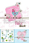 Cartoon baby cards vector