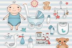 Link toCartoon baby element tag vector