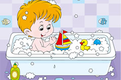 Cartoon bath boy vector