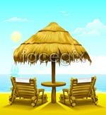 Link toCartoon beach lounge chairs vector