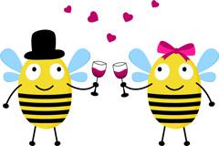 Link toCartoon bee lovers vector