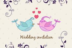 Link toCartoon bird wedding invitations couples vector