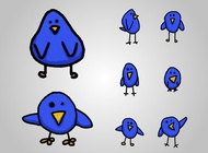 Cartoon birds vector free