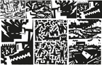 Link toCartoon black and white abstract painting vector