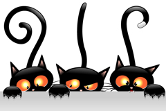 Link toCartoon black cat background vector