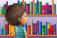 Cartoon bookshelf and boy vector illustration