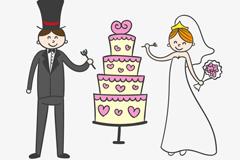 Link toCartoon bride and groom wedding cake vector