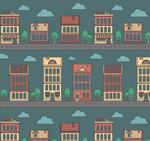 Cartoon building seamless background vector