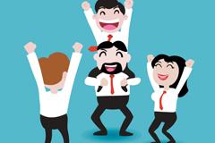 Link toCartoon business team cheered vector