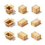 Cartoon cardboard box icon vector