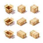 Cartoon cardboard box icon vector