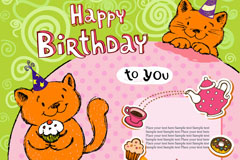 Link toCartoon cat birthday cards, vector