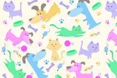 Link toCartoon cats and dogs vector seamless background