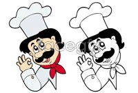 Link toCartoon character chef head vector