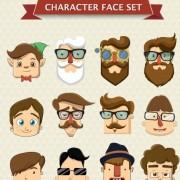 Link toCartoon character face vector set free