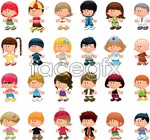Link toCartoon children in europe and america 1 vector