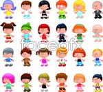 Link toCartoon children in europe and america 2 vector