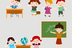 Link toCartoon children in kindergarten-teacher vector