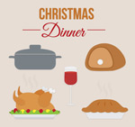 Link toCartoon christmas meal elements vector