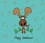 Link toCartoon christmas moose background vector