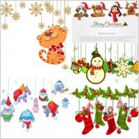 Link toCartoon christmas ornaments vector