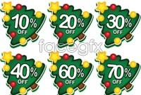 Link toCartoon christmas tree store promotional label
