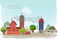 Link toCartoon city scenery vector
