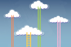 Link toCartoon clouds and ladder background vector