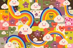 Link toCartoon clouds rainbow background vector