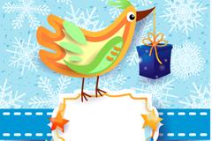 Link toCartoon-colored bird card vector
