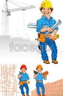 Cartoon contractor characters vector