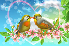 Link toCartoon couple birds background vector