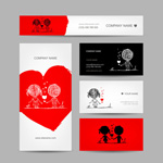 Link toCartoon couple element cards vector