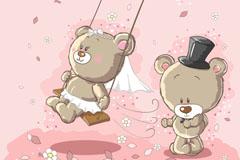 Cartoon couples bear vector illustration
