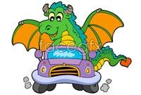 Link toCartoon dinosaur car vector