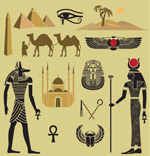 Cartoon egypt element icons vector