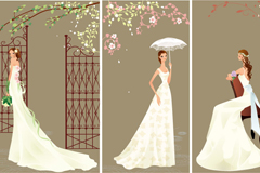 Link toCartoon elegance wedding dress bride, vector