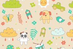 Cartoon element vector seamless background