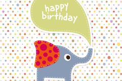 Link toCartoon elephant birthday background vector