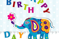 Link toCartoon elephant birthday card vector