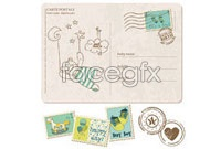 Link toCartoon envelope stamp vector ii