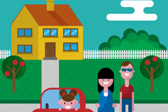 Link toCartoon families and houses vector