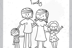 Link toCartoon family of four vector illustration